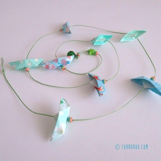 Image of Guirlande origami bateaux menthe et bleu