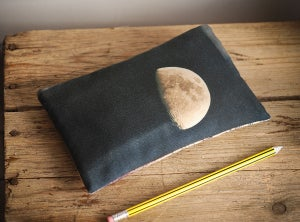 Moon purse with zip, zipper purse, cosmetics bag, wallet, phone case - Red Ruby Rose