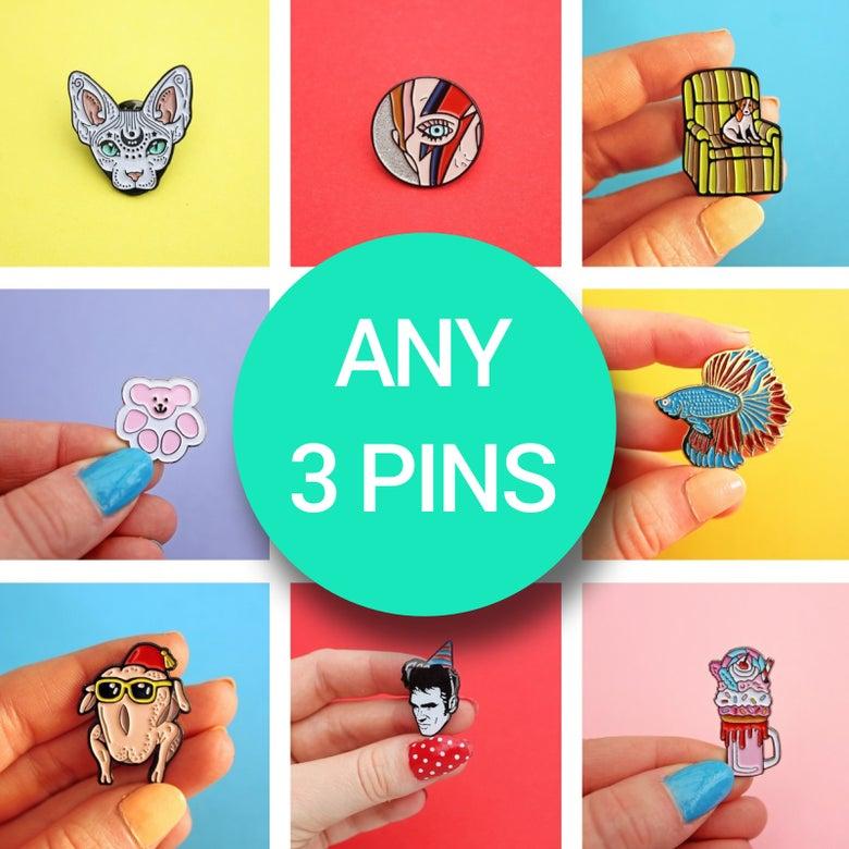 Image of Enamel Pin Set, any THREE pins - discounted bundle of 3
