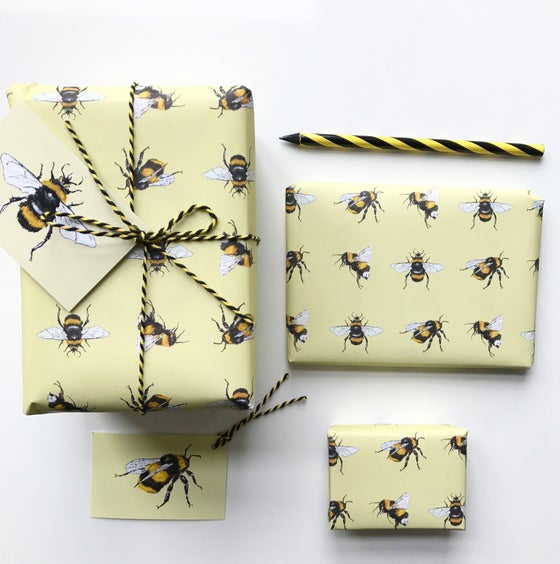 Image of Yellow Bee card + wrapping paper + gift tag in Yellow - 100% recycled