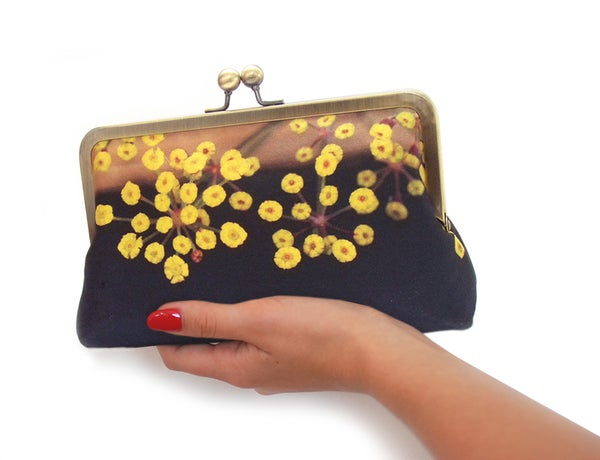 Flower clutch bag, yellow and black, silk purse - Red Ruby Rose