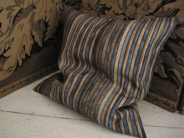 Image of TEAL/TABAC PRINTED LINEN - natural linen back