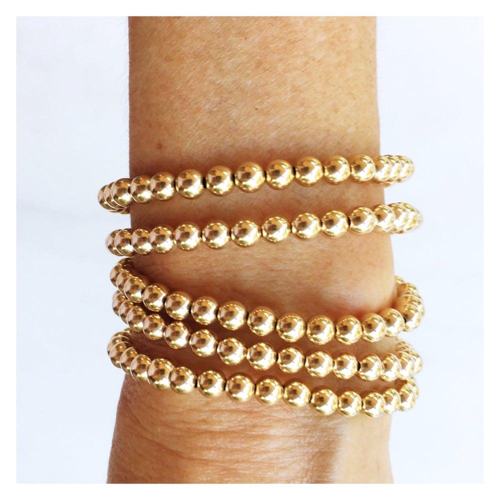 Image of TenThings. Medium. GOLD. Beaded. Bracelet. B-GLDBD5MM
