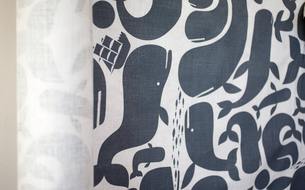 Image of Whales linen fabric