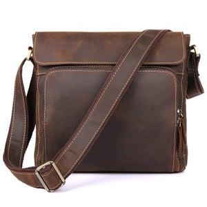 Image of Vintage Handmade Genuine Crazy Horse Leather Messenger Bag Satchel / iPad Bag in Brown (n83)