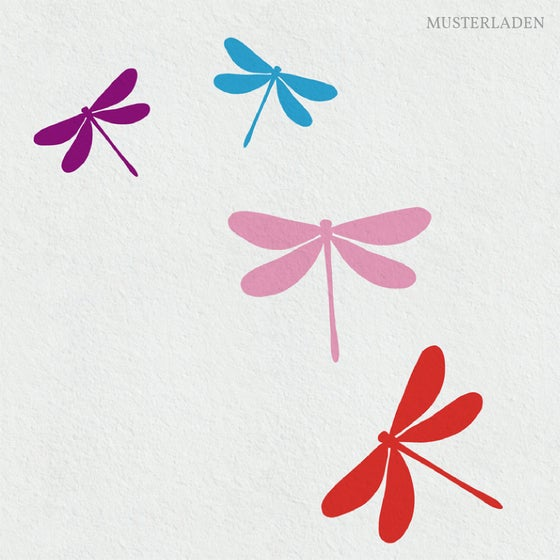 Image of Libellen Wandtattoo - Set mit 8 in vier Farben