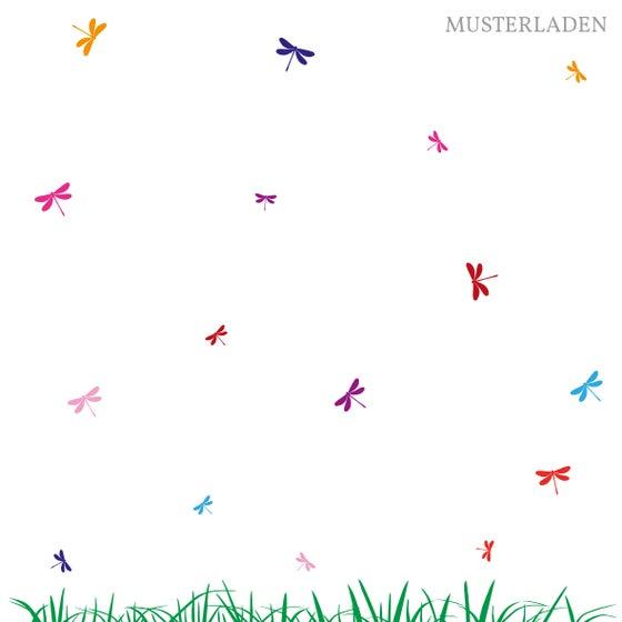 Image of Wiese Wandtattoo mit 16 Libellen in 8 Farben