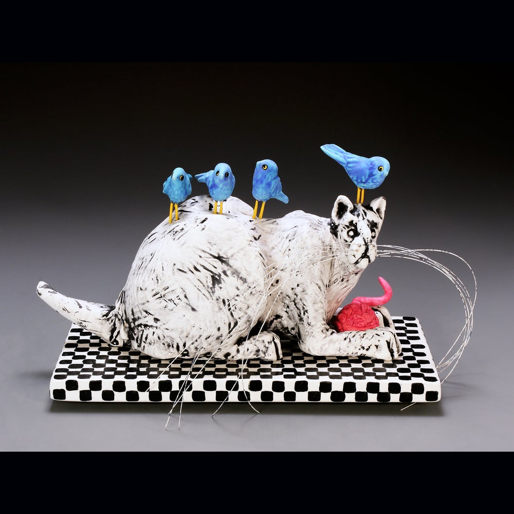 Image of Ceramic Cat Sculpture - Ratty Cat