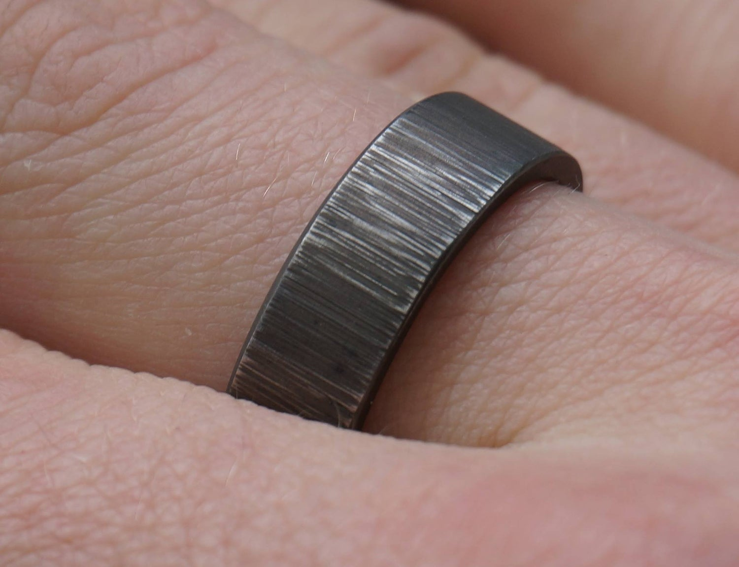 Image of Titanium Rings (made to order) scratch pattern