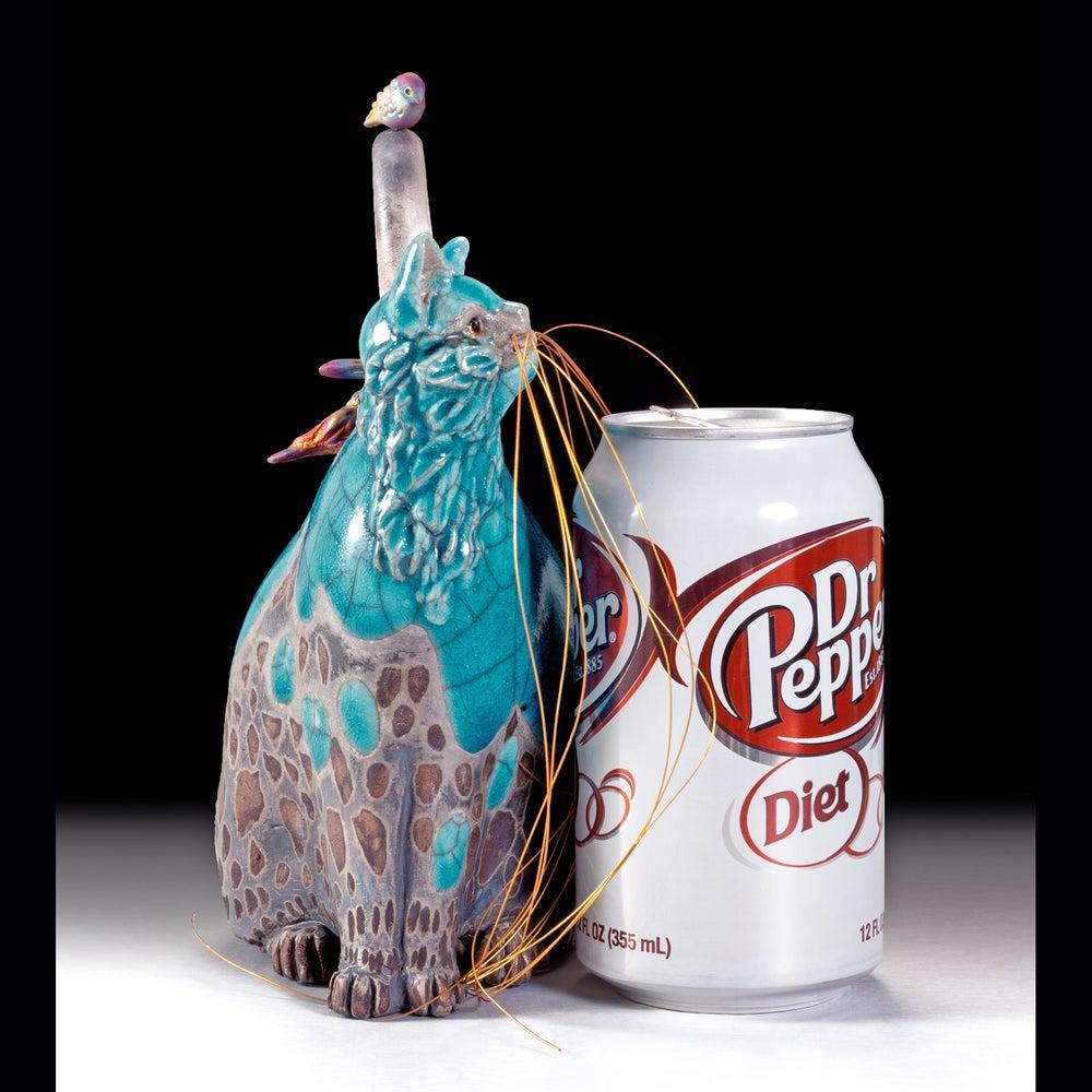 Image of Ceramic Cat Sculpture - Turquoise Tinna and Tweets