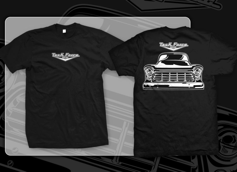 Image of Black 55-56 Chevrolet Truck Front End T-shirts
