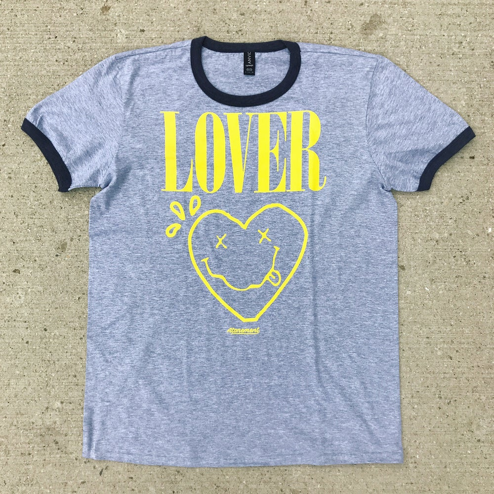 "Image of The ""Lover"" Ringer Tee in Gray/Charcoal"