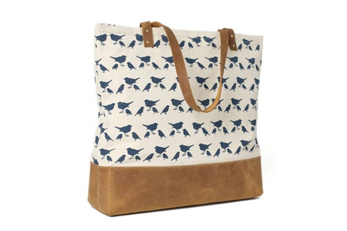 Image of Handmade Canvas Tote Bags with Leather Trimming, Shopper Bags, Ladies Handbags 14050