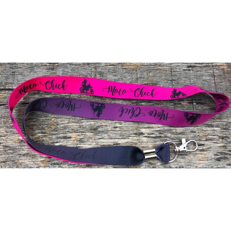 Image of Moto Chick Pink/Dark Pink /Purple Lanyard
