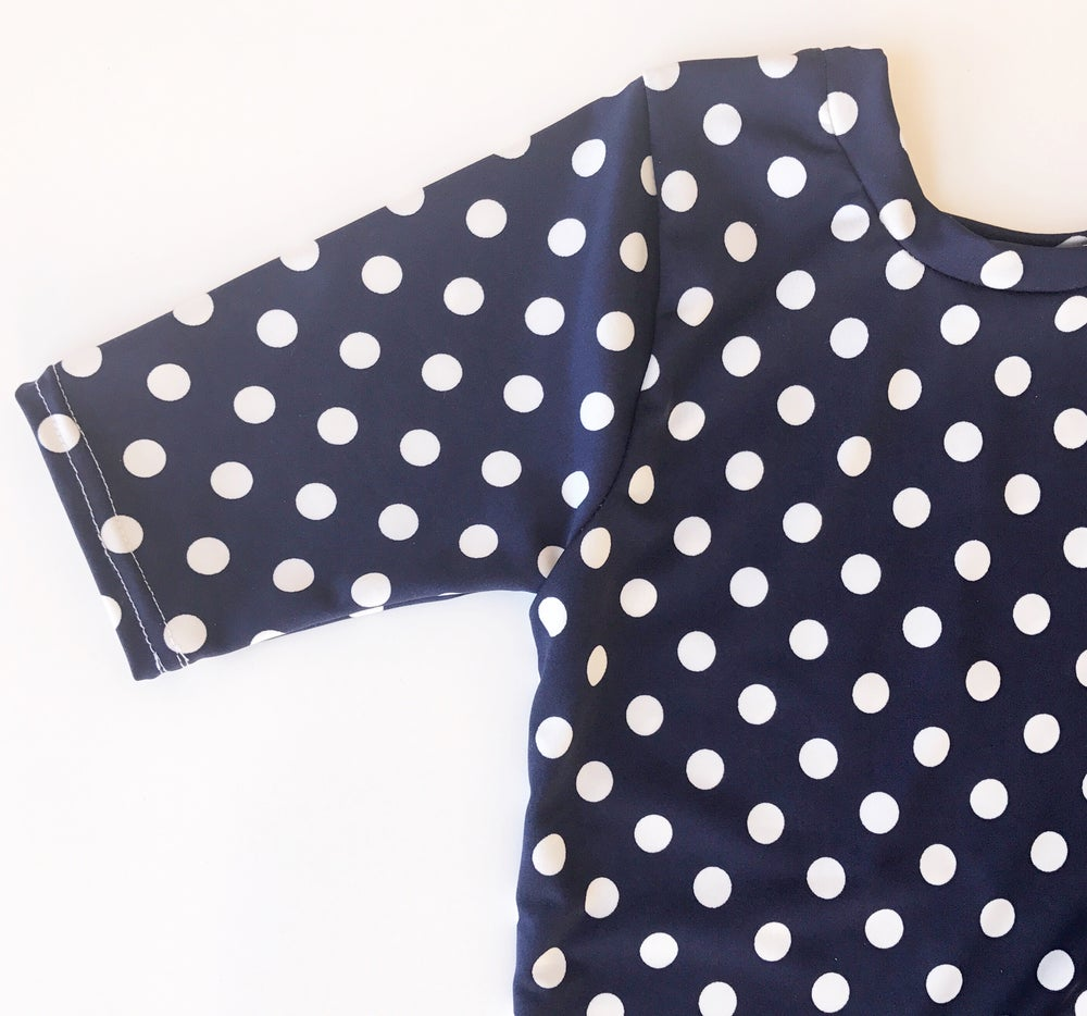 Image of Women's Navy White Polka Dot Knot Knit Dress