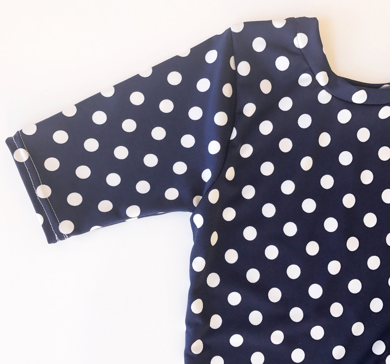 Image of Baby/Girls Navy with White Polka Dot Knot Knit Dress