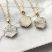 Image of Aura Hexagon Necklace - with Aura Quartz Crystal, Gold Plated