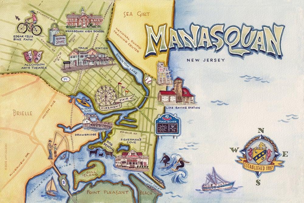 Image of Manasquan, NJ Illustrated Map