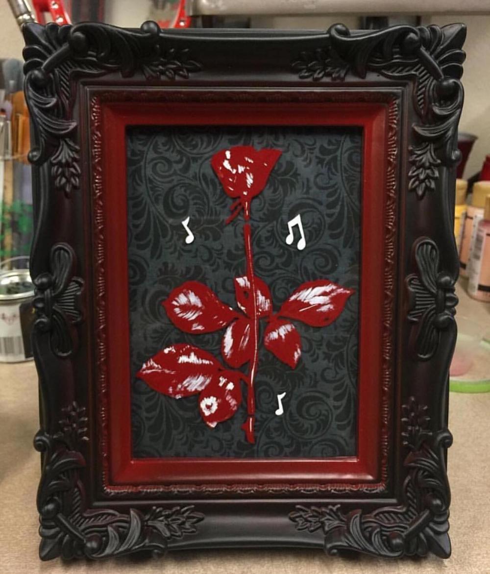 Image of Depeche Mode Filigree Rose Framed Painting