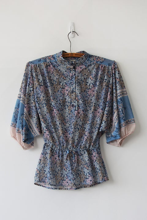Image of SOLD Floral Boho Border Print Sleeve Blouse