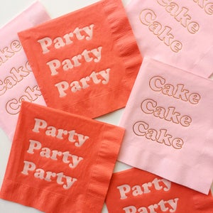 Image of Party Foil Napkins - Tomato and Blush