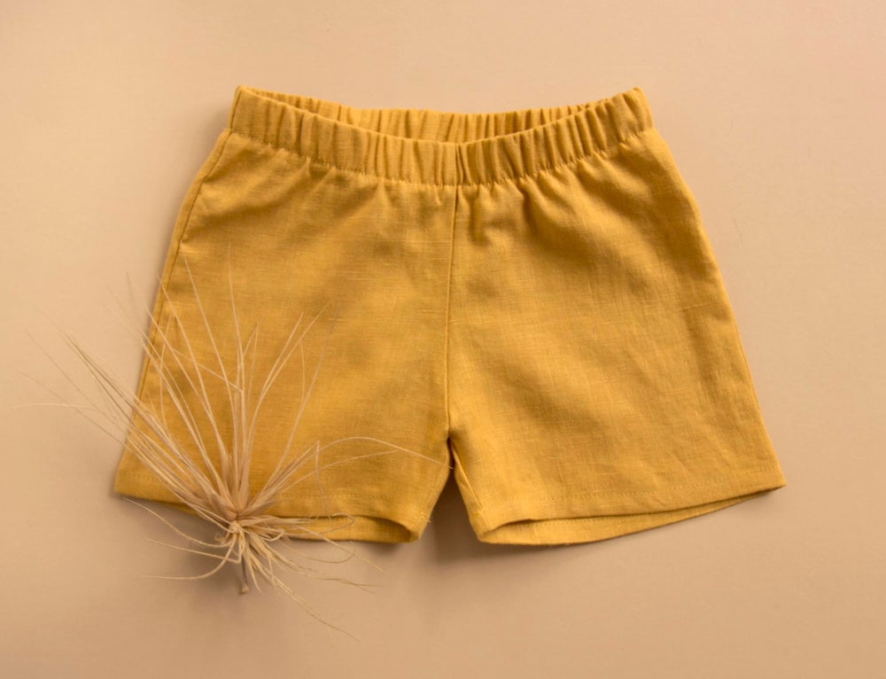 Image of Everyday linen shorts teal, honey and brick