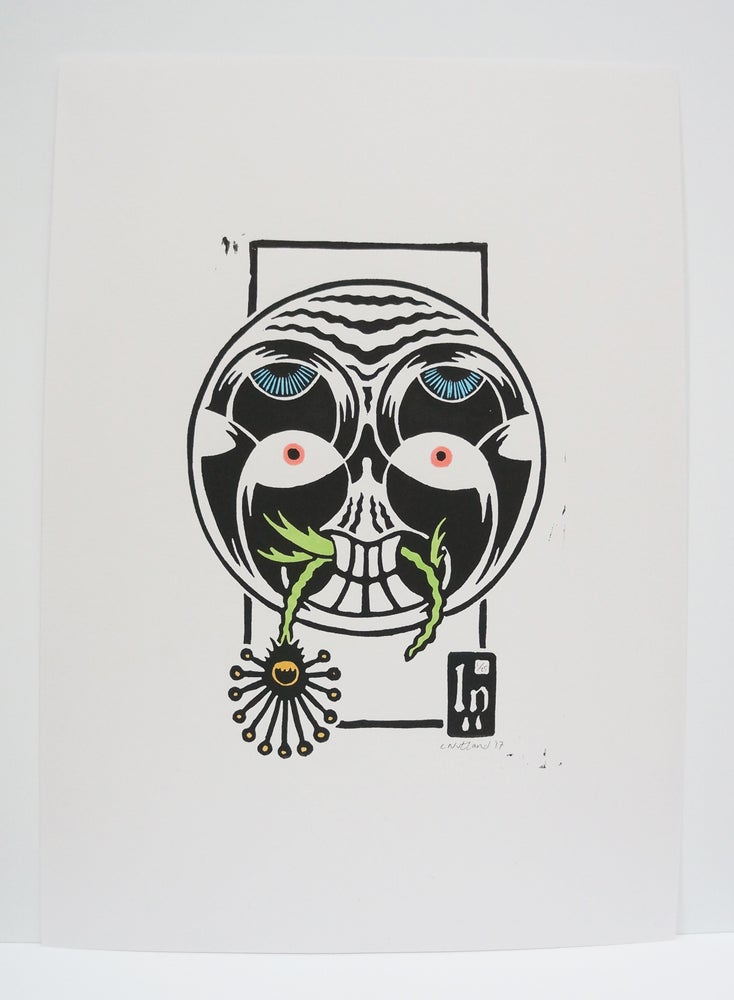 Image of Face - A4 Hand Finished Lino Print