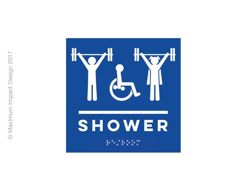Image of Braille Shower Handicap ADA Signage