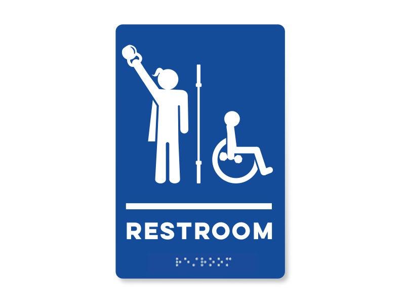 Image of Braille Handicap Unisex Restroom Signage