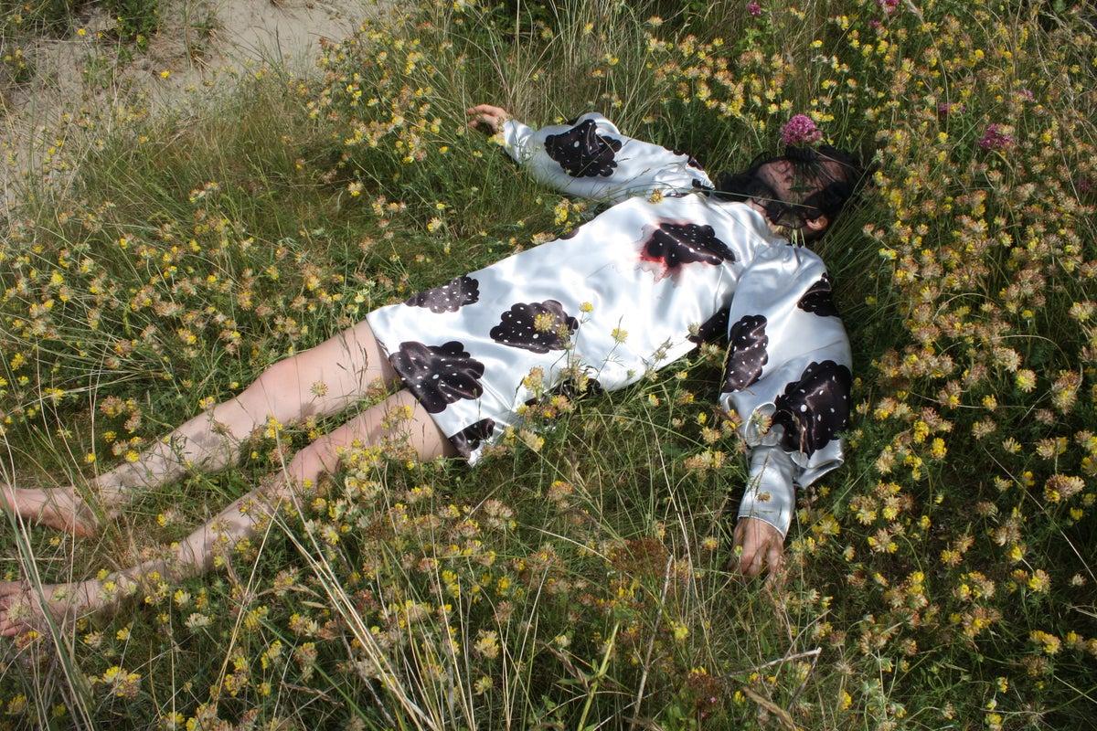 Image of Silver Metallic Bleeding Berry Dress