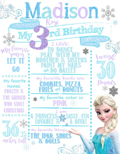 Image of Elsa themed Birthday Board