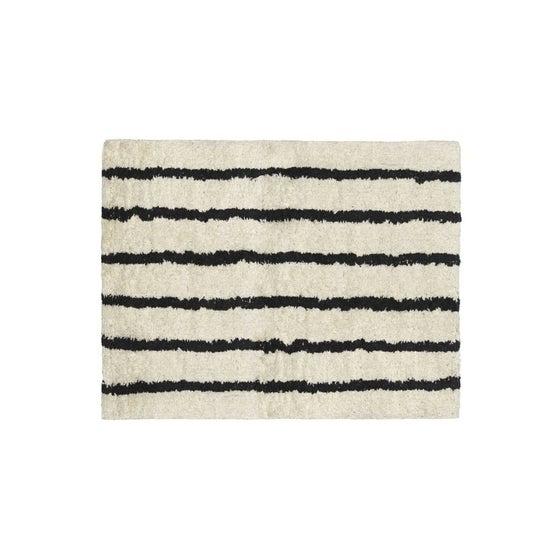 Image of Alfombra de algodón beige y negra
