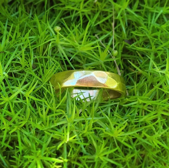Image of Thick Multifaceted Gold Ring