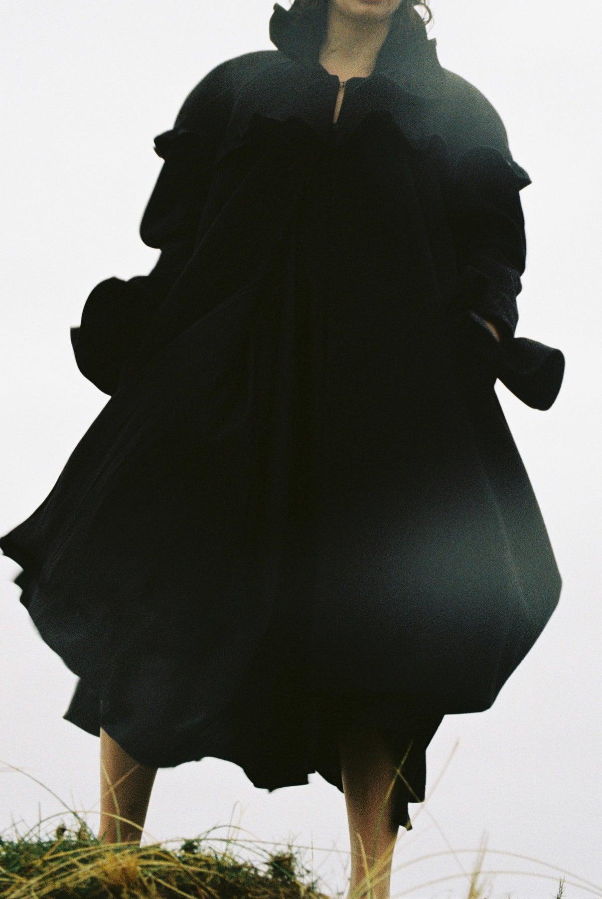 Image of Black Wool Frilled Coat