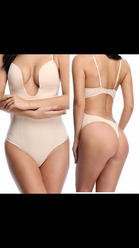 Image of Cq deep cut firm undergarment( tan)