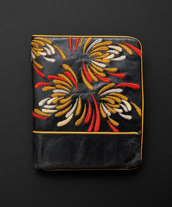 Waratah Embroidered Wallet - Licorice/Gold - Belinda Pieris