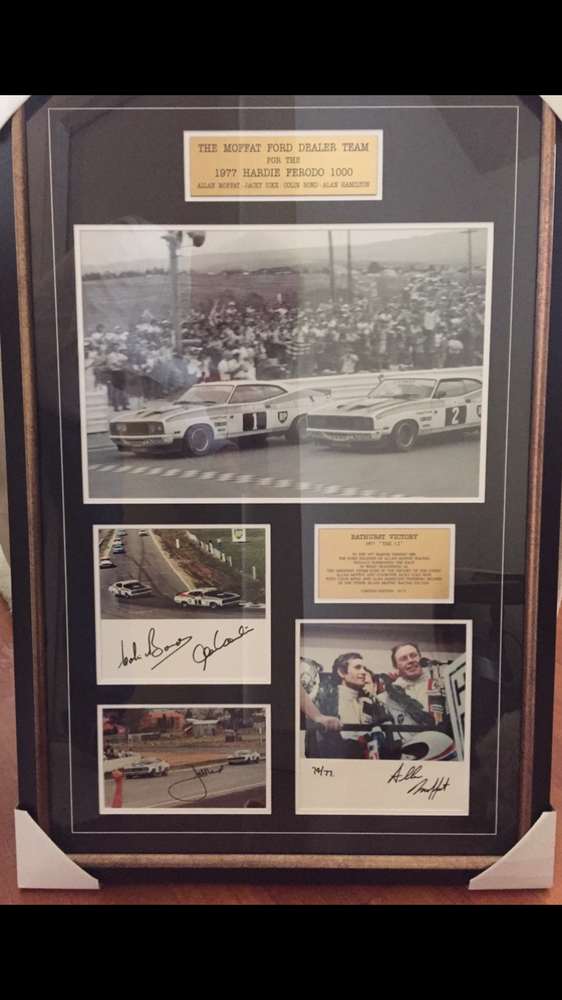 Image of Bathurst 1977 Moffat Ford 1-2. Framed photo set. Signed all 4 drivers. Final release.
