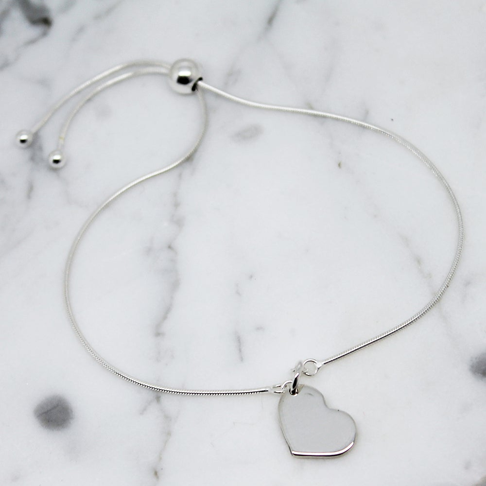 Image of Little Heart Sterling Silver Slider Bracelet