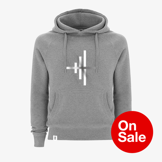 Image of Bedrock - Frequencies - Lines Hooded Pullover Sweatshirts in Grey