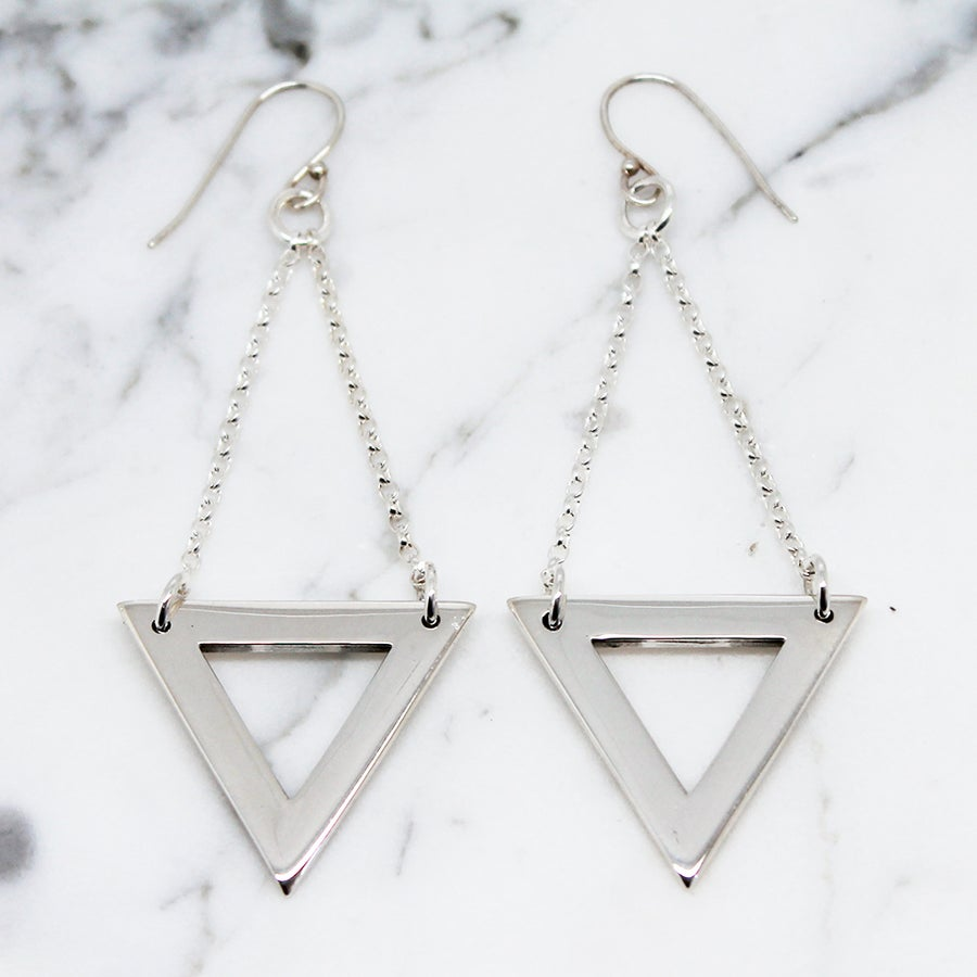 Image of Triangle Sterling Silver Earrings