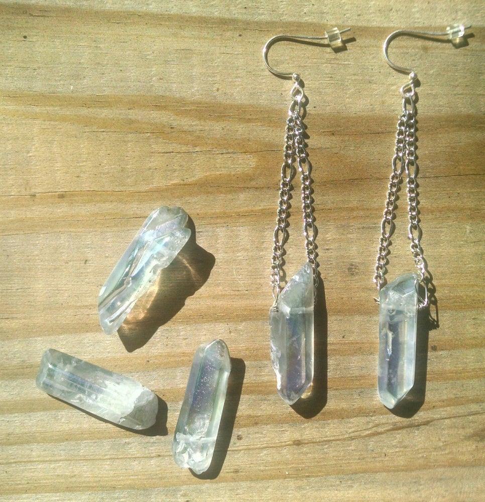 Image of Fire&Ice Raw Quartz Earrings