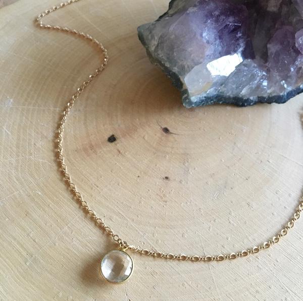Image of 14k gold filled crystal quartz pendant choker