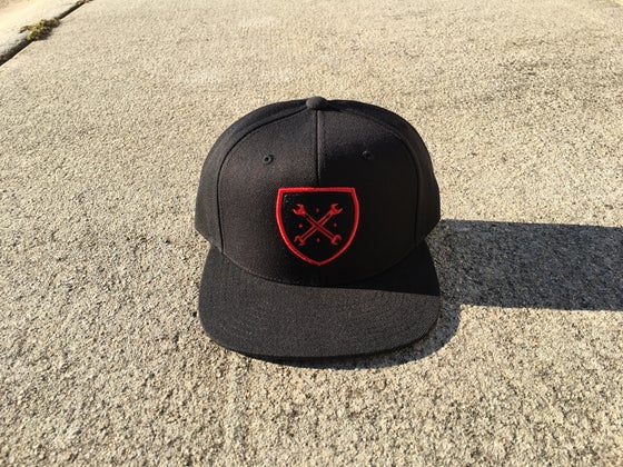 Image of Maniacs Logo Black and Red Snapback