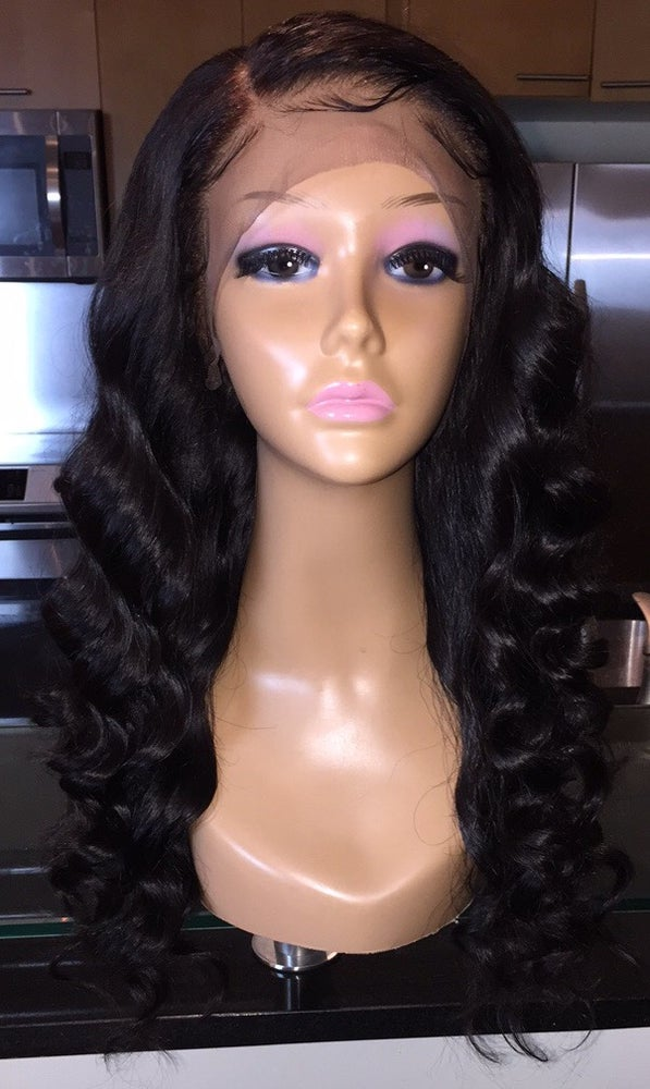 """Image of Cambodian Natural Wave 18"""" Custom Lace Frontal Wig!"""