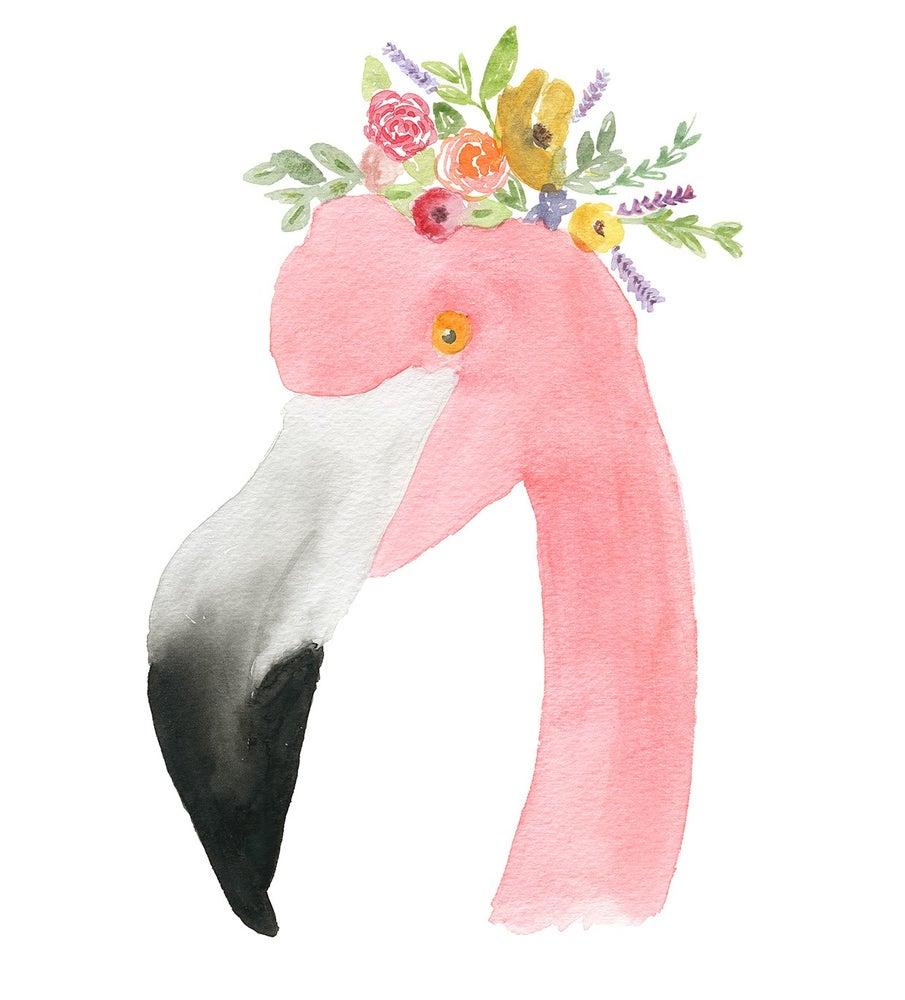 Image of Flower Crown Flamingo