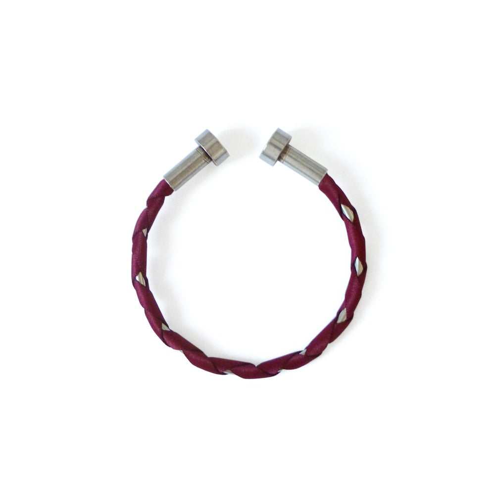 Image of Madake simple opened bracelet #1150, color 10B or 3S (carbon/bronze or garnet/silver)