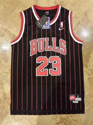 Image of Chicago Bulls Jordan #23 Pinstripe Retro Swingman Nike NBA Jersey