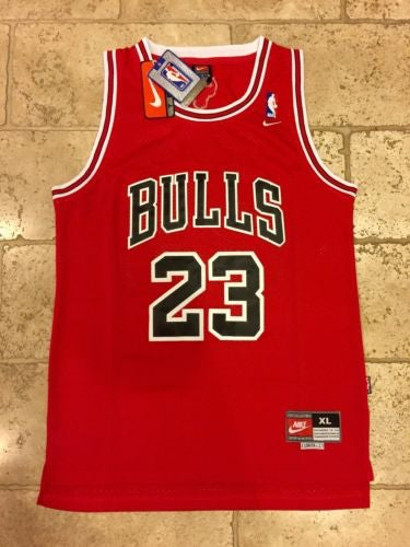 Image of Chicago Bulls Jordan #23 Red Retro Swingman Nike NBA Jersey