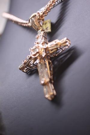 Image of Rose Gold Custom Cross Diamond Pendant