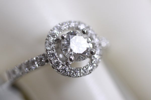 Image of White Gold Solitaire Halo Ring